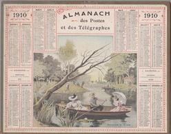 """Calendrier 1910 - ALMANACH DES POSTES ET TÉLÉGRAPHES - OBERTHUR """" Promenade En Rivière Au Robinson """" - Calendriers"""