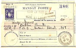 CTD24 - MANDAT POSTE TYPE SAGE SANS VALEUR MOD. 1937 - STORCH R13 - A DESTINATION DU SECTEUR POSTAL 158 - Autres
