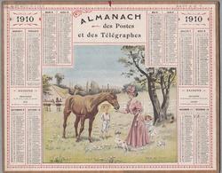 """Calendrier 1910 - ALMANACH DES POSTES ET TÉLÉGRAPHES - OBERTHUR """" Visite Au Favori """" - Calendriers"""