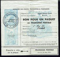 """FR - 1962 """"Bon Pour Un Paquet En Franchise Postale"""" Cachet 10 ème Section D'Infirmiers Militaires - Hopital De  Blida - - Télégraphes Et Téléphones"""
