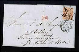 274/ Frankreich, Ceres 40 C, Mi.-Nr. 35, Paris Nach Betberg - Station Buggingen - Baden - Mit Inhalt - Stern Stempel 1 - 1871-1875 Ceres