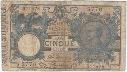 Italia - Italy 5 Lire 29-7-1918 Pick 23e Ref 1 - [ 1] …-1946 : Reino