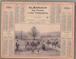 """Calendrier 1916  ALMANACH DES POSTES ET TÉLÉGRAPHES- OBERTHUR """" Matinée De Printemps""""Travaux Des Champs(Basses-Pyrénées) - Calendriers"""