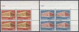 SCHWEIZ 900-901, 4erBlock, Eckrand Ul, Gestempelt, Europa CEPT: Tempel, 1969 - Europa-CEPT