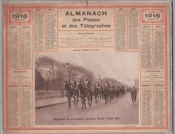 """CALENDRIER 1916 - ALMANACH DES POSTES ET DES TÉLÉGRAPHES  """"Régiment Des Cuirassiers Quittant Paris-Août 1914"""""""" - Calendriers"""
