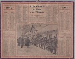 """CALENDRIER 1917- ALMANACH DES POSTES ET DES TÉLÉGRAPHES """"Le Président De La République Dans Les Vosges"""" Chasseurs Alpins - Calendriers"""