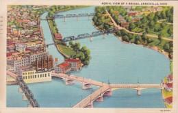 Ohio Zanesville Aerial View Of Y Bridge 1940 Curteich - Zanesville