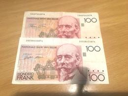 Deux  Billets Belge De 100 Francs  Type Hendrik Beyaert - 100 Francs