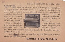 DANIEL & CO GMBH. BERLIN STEGLITZ. PIANOS. CIRCULEE 1923 FRANKFURT A CANADA, STAMP A PAIR - BLEUP - Reclame