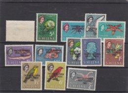 Tristan Da Cunha 1963 Resettlement Overprints On St.Helena - Mint Stamp Set From 1963. Set Of 13 - Tristan Da Cunha