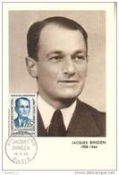 Carte Maximum  - Premier Jour 1958 BINGEN Jacques   Héros De La Résistance - 1950-59