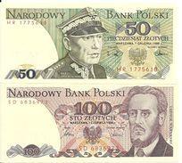 POLOGNE 50-100 Zlotych 1986-88 UNC P 142 C-143 E ( 2 Billets ) - Pologne