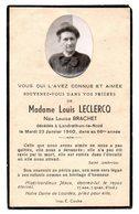 Faire Part De Décés De Mme Louis Leclercq Née L  Brachet  Décédée à Landrethun-le-Nord Le 23/01/1940 Dans Sa 66eme Année - Obituary Notices