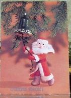 Puppet Santa Claus Rings The Bell Christmas New Year USSR Postcard Xmas Tree - Santa Claus