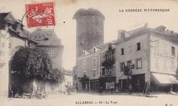 19. ALLASSAC. CPA. ANIMATION DEVANT LA TOUR. ANNEE 1908 + TEXTE - Other Municipalities