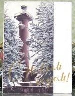 Rostral Column Leningrad Xmas Tree Christmas New Year USSR Postcard - New Year