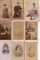 Lot De 9 Photos Anciennes - Portraits De Femmes (dim. Env. 6x10 Cm) - Antiche (ante 1900)
