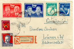 Mühlhausen Vers Lünen Sur Devant Du Lettre Recommande 1952 - Cartas