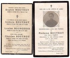 Faire Part De Décés De Mme Boutroy  Née  Royer  Décédée  Le 29 Juillet 1921  Et Faire-part Souvenir Des Défunts Boutroy - Décès