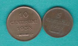 5 Centesimi - 1935 (KM12) 10 Centesimi - 1938 (KM13) - Saint-Marin