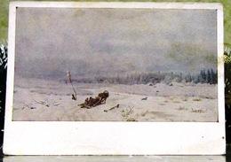 Winter Road 1866 Artist Kamenev Tretyakov Gallery USSR Postcard - Russia