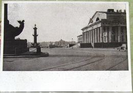 Rostral Columns, Stock Exchange Building, The Tramways Saint Petersburg, Leningrad USSR Postcard 1946 - Russia