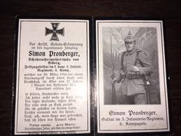 Sterbebild Wk1 Ww1 Bidprentje Avis Décès Deathcard IR3 20 März 1916 Aus Biberg - 1914-18