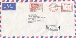 "Kenya 1987 Nairobi Meter Neopost ""405/505"" RV 067 Barclays Bank Slogan Registered Cover - Kenia (1963-...)"