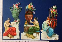 3 CHROMOS DÉCOUPIS......  FEMMES ...VASE ANTIQUE...SCULPTURE...PEINTURE....GRAVURE - Victorian Die-cuts