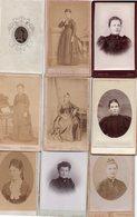 Lot De 9 Photos Anciennes - Portrait De Femmes (dim. Env. 6x10 Cm) - Antiche (ante 1900)