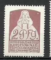 Deutschland 1900 Für D. Kinderwalderholungsheim Chemnitz 2 Pf Unterstützungsmarke Charity * - Vignetten (Erinnophilie)