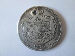 Rare! Romanian 2 Lei 1873 Silver Coin-holey - Roumanie