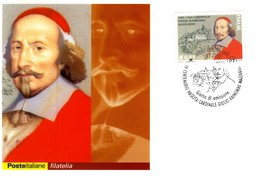 2002 ITALIA CARTOLINA POSTALE FDC CARDINALE MAZZARINO ANNULLO PESCINA - 1946-.. Republiek