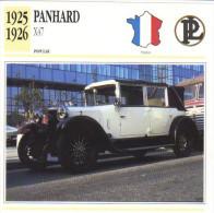 Fiche  -  Panhard X47   -  1925  -  Carte De Collection - Auto's