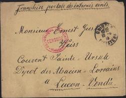 Guerre 14 18 Prisonnier Civil Alsacien Lorrain Considéré Comme Allemand Espion Potentiel Luçon Vendée Censure Finistère - Marcophilie (Lettres)