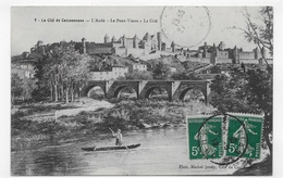 (RECTO/VERSO) CARCASSONNE EN 1912 - N° 9 - LE VIEUX PONT AVEC PERSONNAGE - CACHET AMBULANT TRI FERROVIAIRE - CPA - Carcassonne