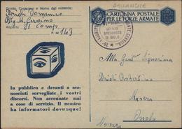 Guerre 40 Occupation Italienne De La Savoie Sallanches Entier Franchise Militaire Chasseurs Alpins Monte Cervino PA 143 - Storia Postale