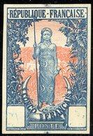 ESSAI N° 33 Au Type Femme Bakalois Non Dentelé Dans Un Grand Format (32 X 48 Mm), Bleu Et Saumon. TB - French Congo (1891-1960)