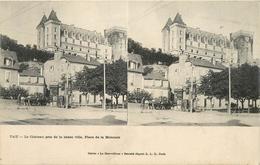 PAU CHATEAU PRIS DE LA BASSE VILLE PLACE DE LA MONNAIE Carte Stéréoscopique - Stereoscope Cards