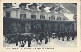 74 CHAMONIX MONT BLANC TRAINEAUX EN GARE DE CHAMONIX PLM SNCF LIGNE A VOIX METRIQUE BRAUN 12015 - Chamonix-Mont-Blanc