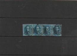 COB N° 11 En Bande De 4 - Oblitération D24 Ingelmunster (! Petite Déchirure Au Dessus De La Tête Du 3 Eme Timbre!) 2mm - 1858-1862 Médaillons (9/12)