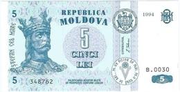 Moldavia - Moldova 5 Leu 1994 Pick 9a UNC Ref 2210-1 - Moldavië