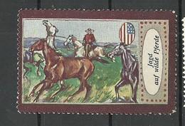 DEUTSCHLAND Poster Stamp Jagd Auf Wilde Pferde Wild West Horses USA Cowboy (*) - Vignetten (Erinnophilie)