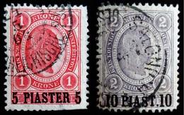 """1900 Levant Autrichien Yt 36, 37  . """"PIASTER"""" On Emperor Franz Joseph .Oblitérés Used - Levant Autrichien"""