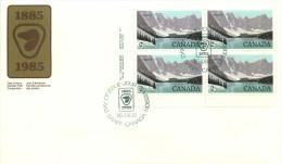 1985  Banff National Park   $2 Definitive     Sc 936   Plate Block Of 4 - Omslagen Van De Eerste Dagen (FDC)
