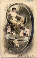 Alphabet Chiffre 9 - Femme Robe Longue Et Enfants Couleur - Fancy Cards