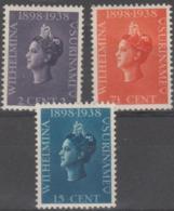 SURINAM - 1938 Queen Wilhelmina. Scott 164-166. MNH ** - Surinam ... - 1975