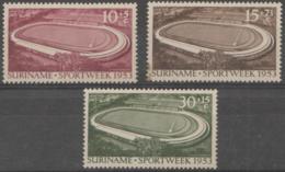 SURINAM - 1953 Stadiums. Scott B55-57. Mint Very Lightly Hinged (small Thin On # B56) - Surinam ... - 1975