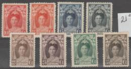 SURINAM - 1927-30 Queen Wilhelmina. Scott 123-131 (less #127). Mint * - Surinam ... - 1975
