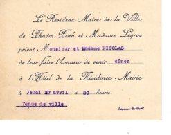 Autographe Le Résident Maire Ville De Phnom-Penh CAMBODGE Lui Faire L'Honneur De Venir Diner à Hotel  Jan 2019 Alb 6 - Faire-part